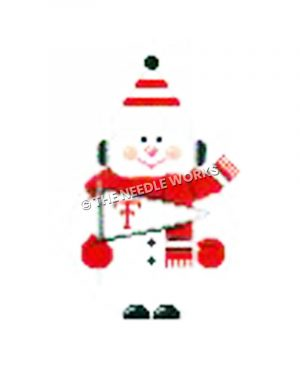 snowman wearing red, black and white scarf and hat carrying TTU pennant