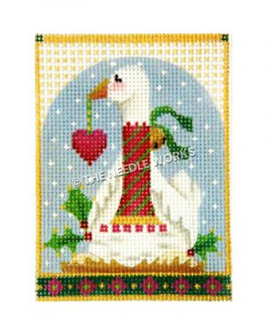 goose with eggs wearing red and green striped scarf with jingle bell holding red heart ornament in its mouth on blue snowy sky background and green border with red flowers