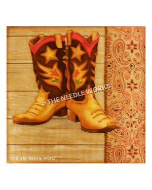 brown, orange and red boots decorated with star and red and green flowers on wooden floor background and paisley red patterned border