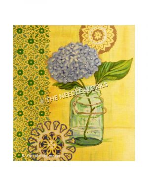 blue hydrangea in mason jar on yellow background with blue and green flower patterned border