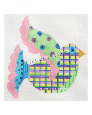bird decorated in patchwork pattern in green, pink, purple, yellow and blue