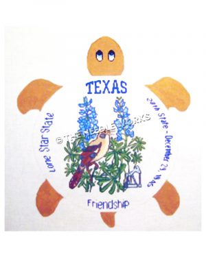 brown turtle with white shell decorated with bluebonnets, mockingbird, pumpjack and Texas, Lone Star State, Friendship and 28th State - December 29, 1845 written in blue