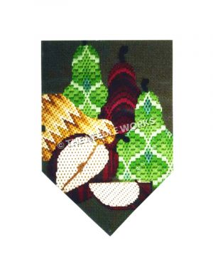 pocket shape with pears in geometric patterns on green background
