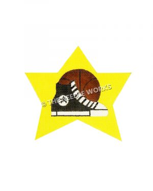 yellow star with black converse shoe and basketball