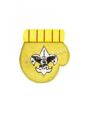 gold mitten with black and white boy scout emblem
