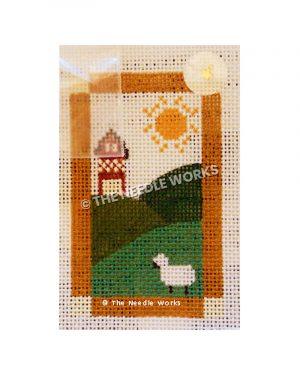 green hilly landscape with tall red and white house in background and black and white sheep and sun in white sky
