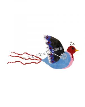 blue and pink flying bird with red head and tail and black wing with blue tips and red dots