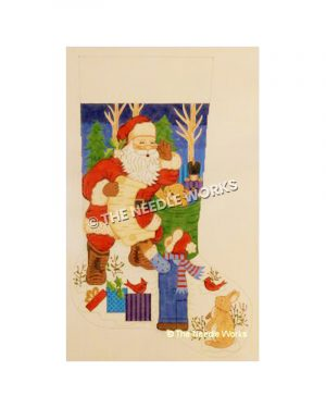 stocking with Santa looking at list with child standing, red birds, bunny, gifts, and toy bag with night sky background