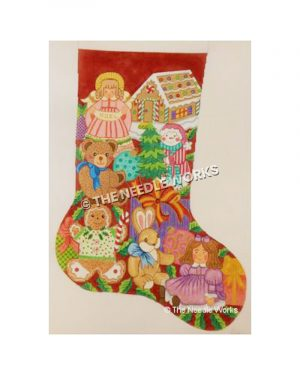red stocking decorated with gingerbread man and house, teddy bear, bunny, doll, snowman and angel holding Noel banner