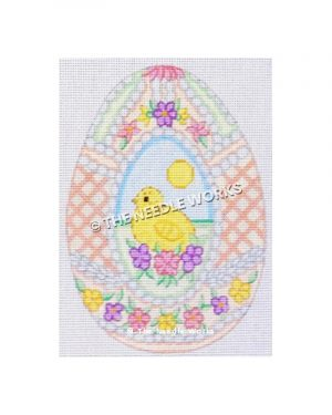 chick inside pink and white plaid Easter egg with pink, yellow, and purple flowers