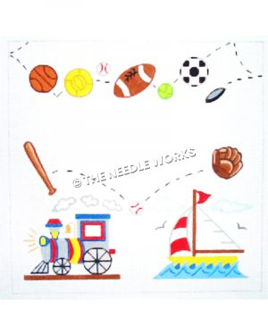 sports balls and train and boat with space for birth announcement