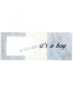 picture frame with It's a boy in blue written on blue and white striped background