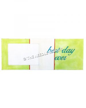 picture frame with Best day ever in green on green and white striped background