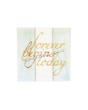 forever begins today written on green and white striped background