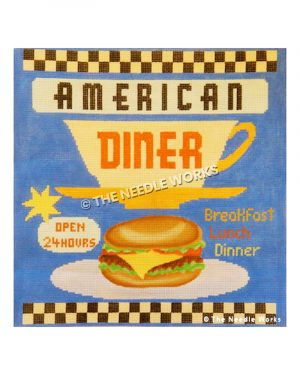 burger on plate with American Diner, Open 24 hours, and Breakfast Lunch Dinner signs on blue background with black and white checkered border