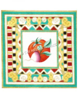 tomato and radish framed by red, gold, black and white geometric patterned border