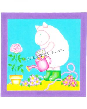 pig watering rose in yellow pot with purple and pink flowers on ground with blue and yellow background