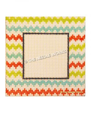 picture frame with green, blue, and red chevron stripes