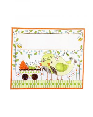 birth announcement with green chicks looking at baby carriage with baby chick and green vines and white flowers border