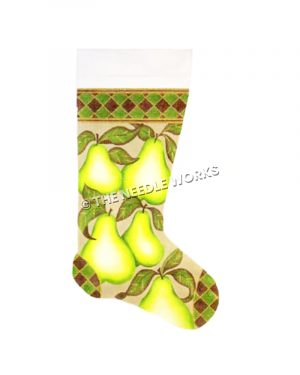 stocking with pears and green and black checkered border
