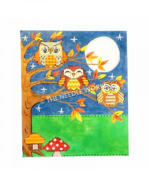 three owls in tree with fall leaves on night sky with full moon and two mushroom at base of tree