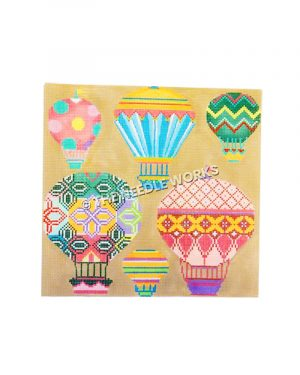 hot air balloons in pastel geometric patterns on yellow background