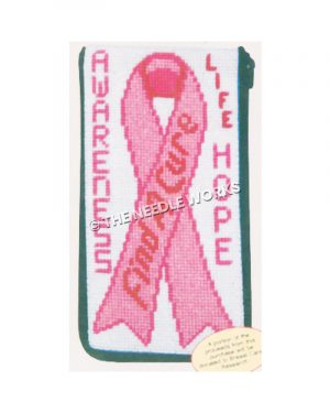 eyeglass case with pink breast cancer ribbon with Find a Cure on ribbon and Awareness, Life, and Hope around
