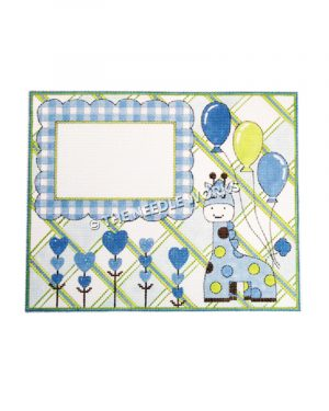 baby boy birth announcement frame with blue giraffe, balloons, and hearts on green and blue plaid background