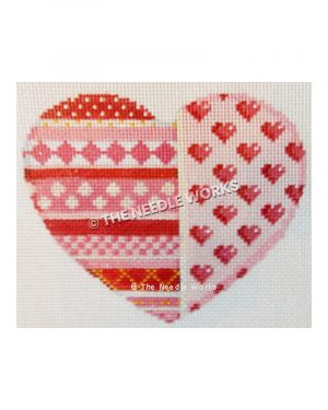 heart shape with red, pink and white geometric patterns
