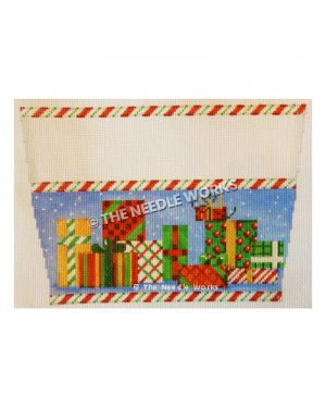 stocking top with red, green, yellow and white gifts on blue with snow falling and candy cane striped border