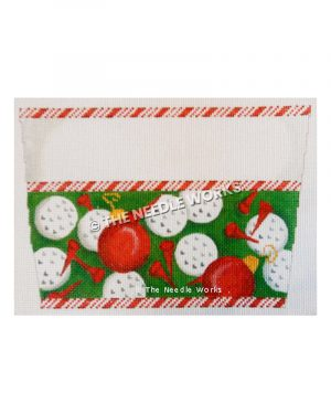 stocking top with golf balls and red ornament balls and red tees with candy cane striped border
