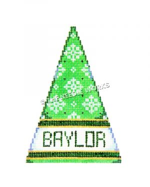 green tree with snowflakes and Baylor written at bottom