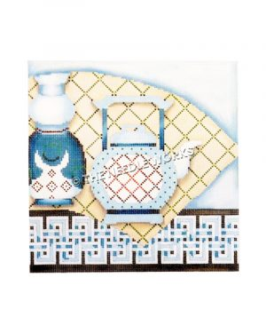 blue and white tea kettle and vase on white and green plaid tablecloth