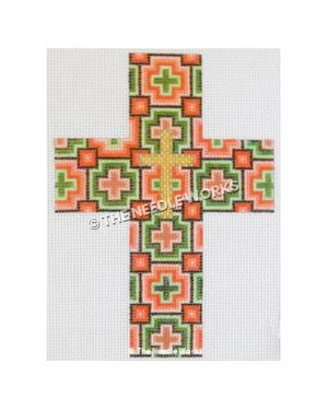 pink and orange cross with geometric cross pattern and gold cross in center