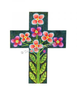 blue cross with pink and purple flowers