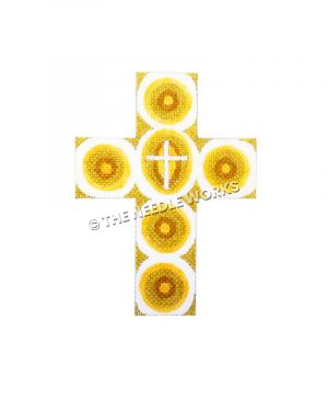 gold cross with white and yellow circles and white cross in center