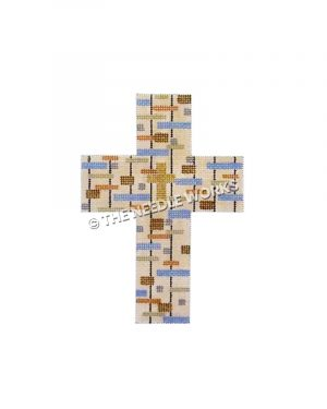 white cross with gold cross in center and rectangle pattern in blue, orange, yellow, silver, and brown