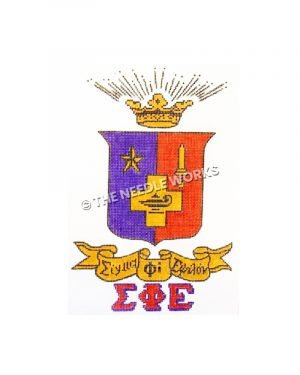 sigma phi epsilon seal on red and purple with gold scroll and greek letters in red below
