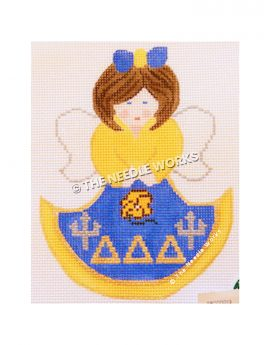 brunette angel in yellow and blue dress with delta delta delta letters
