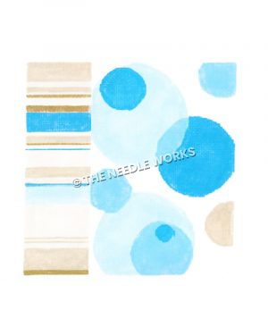 blue dots and brown, yellow, blue and white striped border