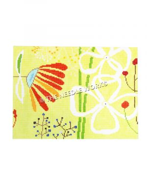 abstract flowers in red, orange, white, and blue on yellow background