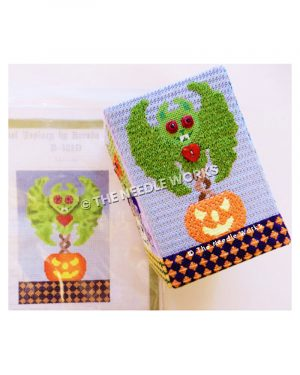 green bat flying above jackolantern with red eyes and heart button on neck with orange diamond pattern on blue bottom border