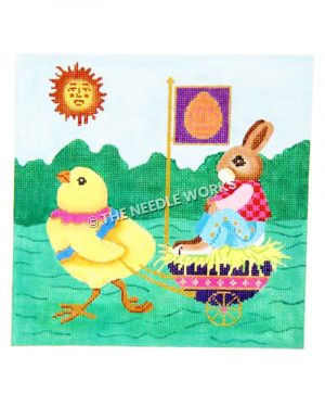 bunny sitting in egg shaped cart with purple flag with orange egg pulled by chick on green landscape with sun in sky with a face