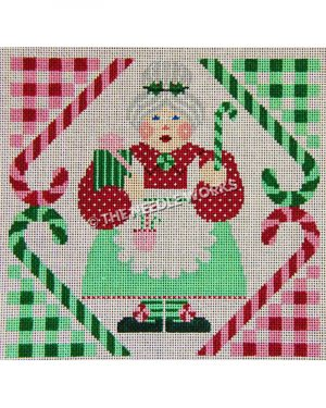 Mrs. Claus holding present and candy cane with red and green candy cane border