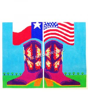red and purple boots with yellow and white decorations holding up Texas and American flags on blue sky and green grass with small trees in distance