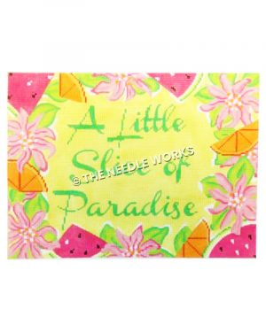 A Little Slice of Paradise in green on yellow with pink flowers, orange slices and watermelon slices on border