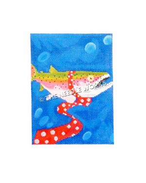 fish wearing red tie with white dots in blue water