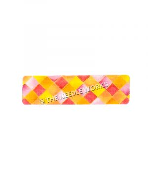 cuff with pink, orange, and yellow checkered pattern