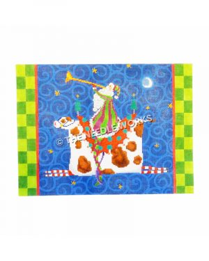 Santa blowing trumpet riding a white and brown spotted cow on blue swirled background and green checkered border