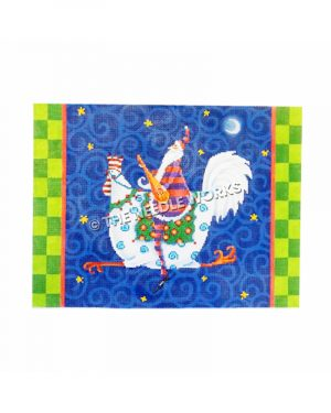 Santa in red and purple striped suit riding on white rooster on blue swirled background and green checkered border